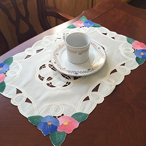 Battenburg Lace with Embroidery Table Clothes/Covers, Table Runner, Placemats or Kitchen Curtains (White, 3pcs-kitchencurtains)