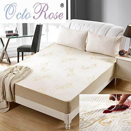 OctoRose Premium Quilted Chenille Waterproof Mattress Pad Protector. Waterproof Mattress Cover (Queen, Easy fit Fitted Waterproof Mattress pad)