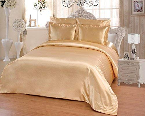 OctoRose 6 PCS CALIFORNIA KING Size Duvet Cover Set, Supreme Quality Sexy Silky Satin,1 Large Size Double Heads Zipper Duvet Cover 1 Fitted Sheet 2 Pillow case 2 Pillow Shams