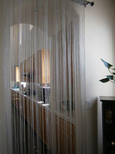 "Octorose ® Silver String Curtain Panel 40x110"" with Faux Pearl Beads Door / Window / Room Divider or Party Events"