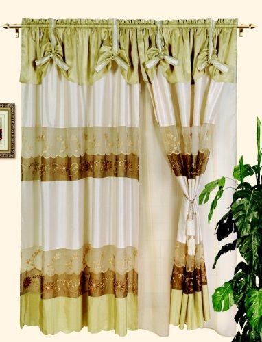 Nice Embroidery Based Windows Curtain /Draps - Beige
