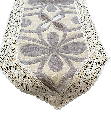 Chenille with Cotton Lace Coffee Table Runner (Grey, 10x60