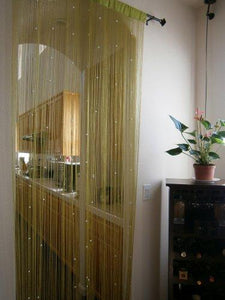 OctoRose Green String Curtain Panel 40x110 with Faux Pearl Beads Door/Window/Room Divider or Party Events