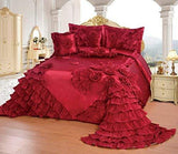 OctoRose Royalty Oversize Wedding Bedding Bedspread Comforter Set (BP-H1-Q, Red)