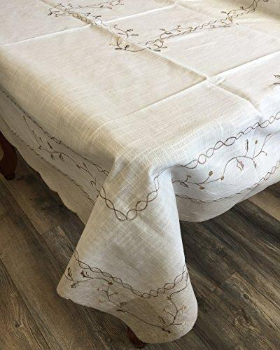 OctoRose 100% Polyester Thick Satin Off White with Embroidery Table Cloth 72x108 Oblong (TC-5698-72108)