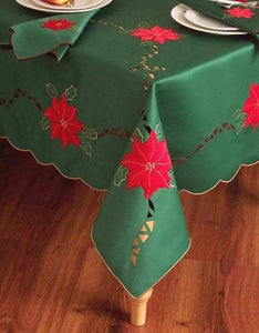 OctoRose Special Christmas Quality Green Red Flower Table Cloth 72 inch Round