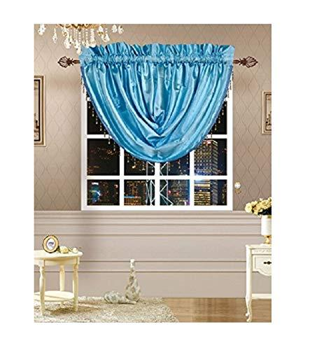 Octorose  Royalty Custom Waterfall Window Valance and Swags & Tails (Blue, Swag(66x37 WxH))