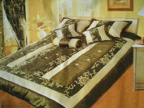 OctoRose King Faux Silk and Cotton Jacquard with Ribbon Emb' Patchwork Comforter