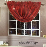 OctoRose Royalty Custom Waterfall Window Valance Swags & Tails (Red, Swag(66x37 wxh))