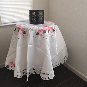 "Battenburg Lace with Embroidery Table Clothes/Covers, Table Runner, Placemats or Kitchen Curtains (White, 72""RD)"