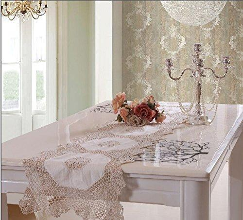 OctoRose 100% Cotton Crocheted Lace Tablecloth Gorgeous Wedding/Party Tablecloth Vintage Dining Kitchen Table Runner (15x63