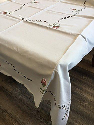 OctoRose 100% Polyester Thick Satin Off White with Embroidery Table Cloth 72x108 Oblong (TC-6058-72108)