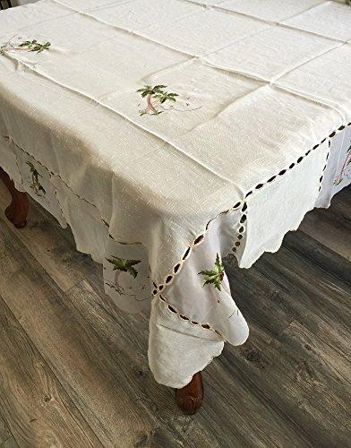 OctoRose 100% Polyester Thick Satin Off White with Embroidery Table Cloth 72x108 Oblong (TC-6453-72108)