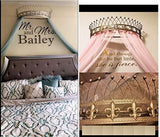 Octorose Metal Wall Teester Bed Canopy Drapery Bed Crown Hardware (CLYH-Gold-31.5x14x9.5)