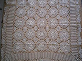 "Crochet Table Linen 90"" Round 100% Cotton Hand Made / Beige Color"