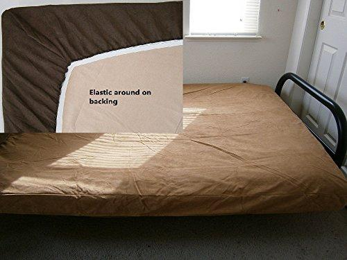 OctoRose Full Size Elastic Around on Backing Bonded Micro Suede Easy Fit Fitted Futon Cover (Camel)