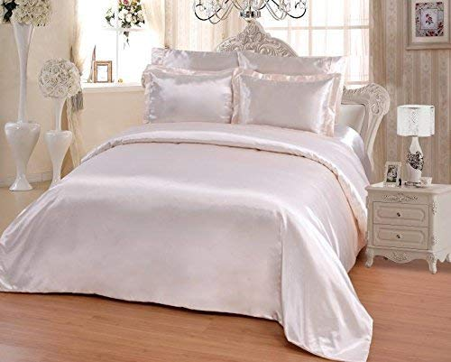 OctoRose 6 PCS TWIN Size Duvet Cover Set, Supreme Quality Sexy Silky Satin,1 Large Size Double Heads Zipper Duvet Cover,1 Fitted Sheet, 2 Pillow case,2 Pillow Shams