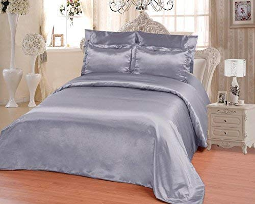OctoRose 6 PCS Full Size Duvet Cover Set, Supreme Quality Sexy Silky Satin,1 Duvet Cover,1 Fitted Sheet, 2 Pillow case,2 Pillow Shams