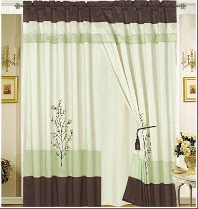 Octorose Pair of Sage Green / Brown / Beige Embroidery Design Window Curtain / Drapes / Panels with Sheer Linen Valance and Tieback