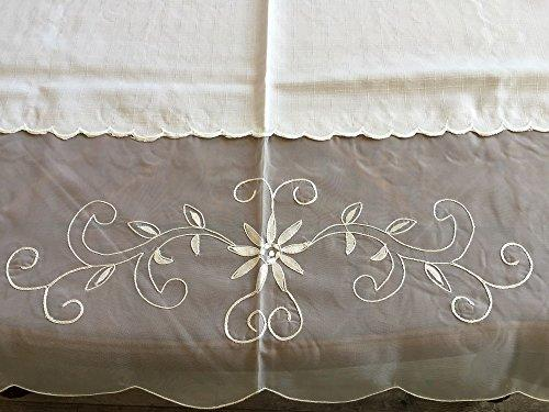 OctoRose 100% Polyester Thick Satin White with Embroidery Table Cloth 72x108 Oblong (TC-4107-72108)
