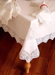 "White Cotton Christmas Tree with Handmade Crochet Lace Table Cloth / 60x84""Oblong"
