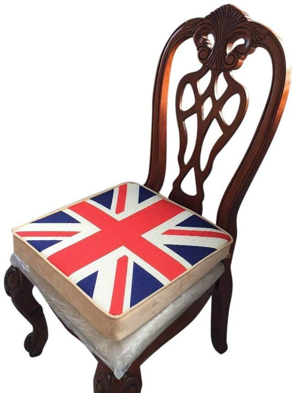 Pack Chair pads , UK flag , sponge inner, linen surface, LARGE sizes 18x18