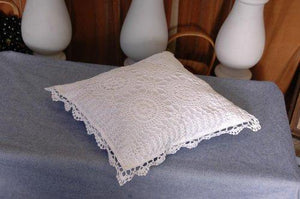 "4 Pcs Set Crochet Cushion Case 14x14"" /White Color"