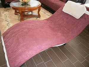 "Bonded Micro Suede Quilted Sectional Sofa Throw Pad Furniture Protector Sold By Piece Rather Than Set (Wine/Burgundy, 35x35"")"