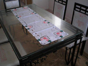 Beige/Off White Battenburg Lace with Embroidery Table Runner and Placemats Runner Size 15x72 Inch