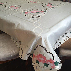 OctoRose 100% Polyester Thick Satin Off White with Embroidery Table Cloth 72x90 Oblong (TC-BaLe-7290-Beg)
