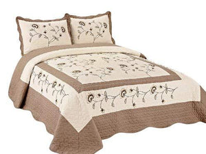 OctoRose 3pc Super Soft 102x94 Beige/Taupe Fully Quilted Embroidery Bedspread Coverlets Bed Cover Pillow Sham Set