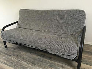 "OctoRose Two Tone Flip Over 3 Side Zipper Futon Cover/Futon slipcover/Futon Protector (Linen-Grey, Twin(39x75+8""))"
