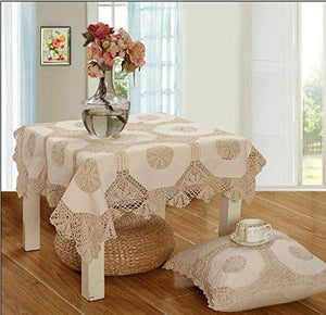 "OctoRose 100% Cotton Crocheted Lace Tablecloth Gorgeous Wedding/Party Tablecloth Vintage Dining Kitchen Table Cover (Beige, 36"" SQ)"