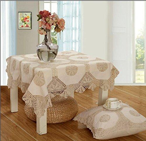 OctoRose 100% Cotton Crocheted Lace Tablecloth Gorgeous Wedding/Party Tablecloth Vintage Dining Kitchen Table Cover (Beige, 36
