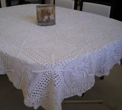 OctoRose 100% Cotton Hand Crochet Table Cloth 72x108 Oblong (TC-Crt-60104-Wht)