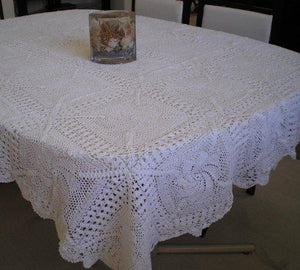 "Crochet Table Linen 100% Cotton Hand Made Table Cloth (60x90"", Beige)"