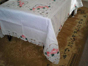 Beige/Off White Battenburg Lace with Embroidery Table Clothes/Covers 72x108 Inch Oblong