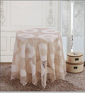 "OctoRose 100% Cotton Crocheted Lace Tablecloth Gorgeous Wedding/Party Tablecloth Vintage Dining Kitchen Table Cover (Beige, 36"" RD)"