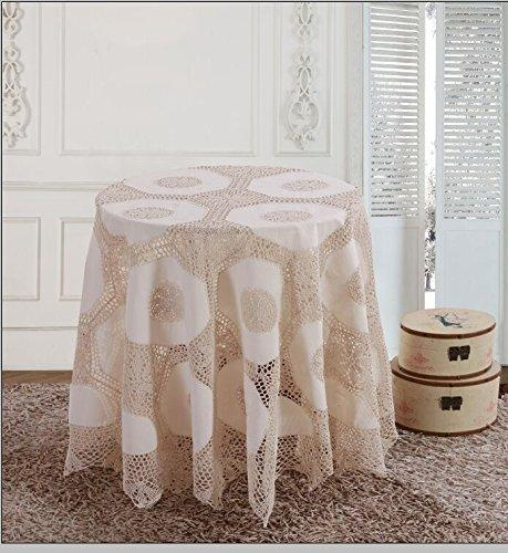 OctoRose 100% Cotton Crocheted Lace Tablecloth Gorgeous Wedding/Party Tablecloth Vintage Dining Kitchen Table Cover (White, 90