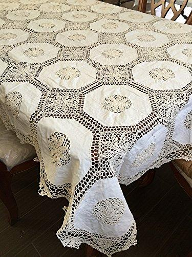 OctoRose 100% Cotton Crocheted Lace Tablecloth Gorgeous Wedding/Party Tablecloth Vintage Dining Kitchen Table Cover (Beige, 70x144 OB)