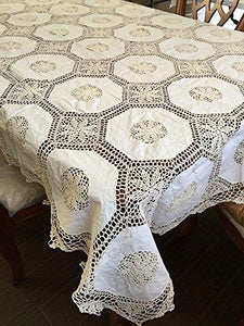 OctoRose 100% Cotton Crocheted Lace Tablecloth Gorgeous Wedding/Party Tablecloth Vintage Dining Kitchen Table Cover (Beige, 70x90 OB)