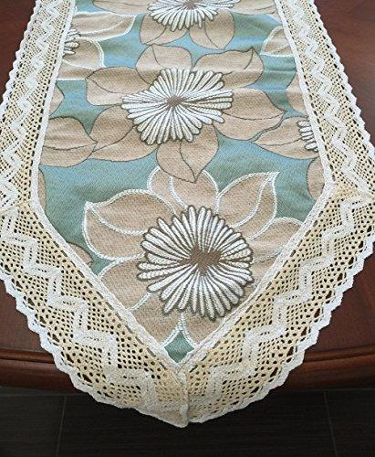 Chenille with Cotton Lace Coffee Table Runner (AquaBlue, 10x60