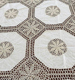 OctoRose 100% Cotton Crocheted Lace Tablecloth Gorgeous Wedding/Party Tablecloth Vintage Dining Kitchen Table Cover (White, 70x144 OB)