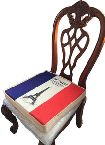 Pack Chair pads , paris eiffel tower , sponge inner, linen surface, LARGE sizes 18x18""