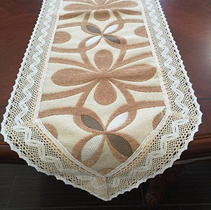 "Chenille with Cotton Lace Table Runner (Camel(Gold), 15x108"")"