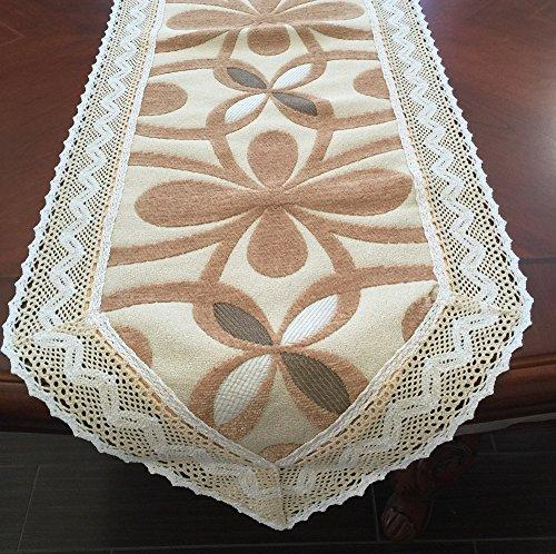 Chenille with Cotton Lace Table Runner (Camel(gold), 15x90