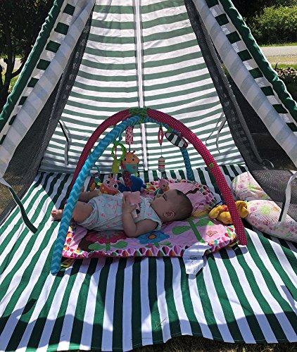 OctoRose Deluxe Portable and Breathable Kids Teepee Tent Play Tent Sun Shelter in Cotton Canvas 53x53x55 (LxWxH) with Removable Floor mat