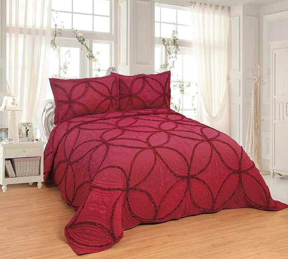 3 pcs Fully OctoRose Lace Quilted Embroidery Quilts Bedspread Bed Coverlets Cover Set, Queen King 106x96 inch