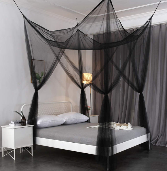 OctoRose 4 Poster Mosquito NET, Four Post Bed Canopy Elegant Screen Netting Canopy Curtains, Full Queen Kingg Canopy Curtains, Full Queen King