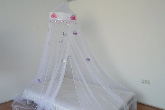 OctoRose Princess Crown Bed canopy , mosquito net for crib, twin, full, queen or king size (White)